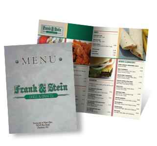 Full Color Restaurant Menu Design,  Printing Services California