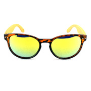 Black Brown Frame With Bamboo Temple & Polarized Gold Mirror Lens